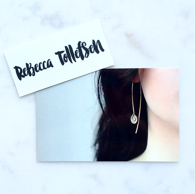 Rebecca Tollefsen new branding and gold open hoop earrings