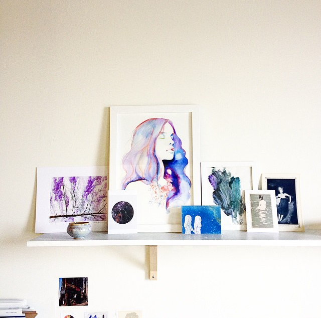 Shelfie above my shipping station in my studio.