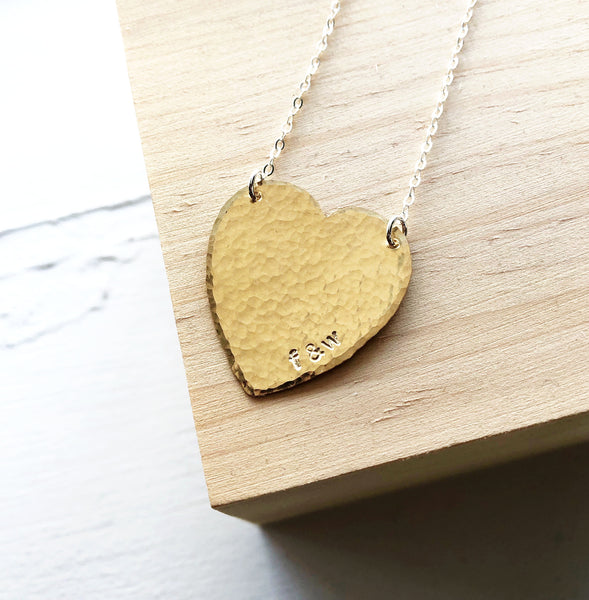 Personalized Hammered Heart Necklace