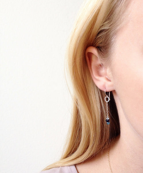 Birthstone Chain Threaded Style Earrings - Halos Collection