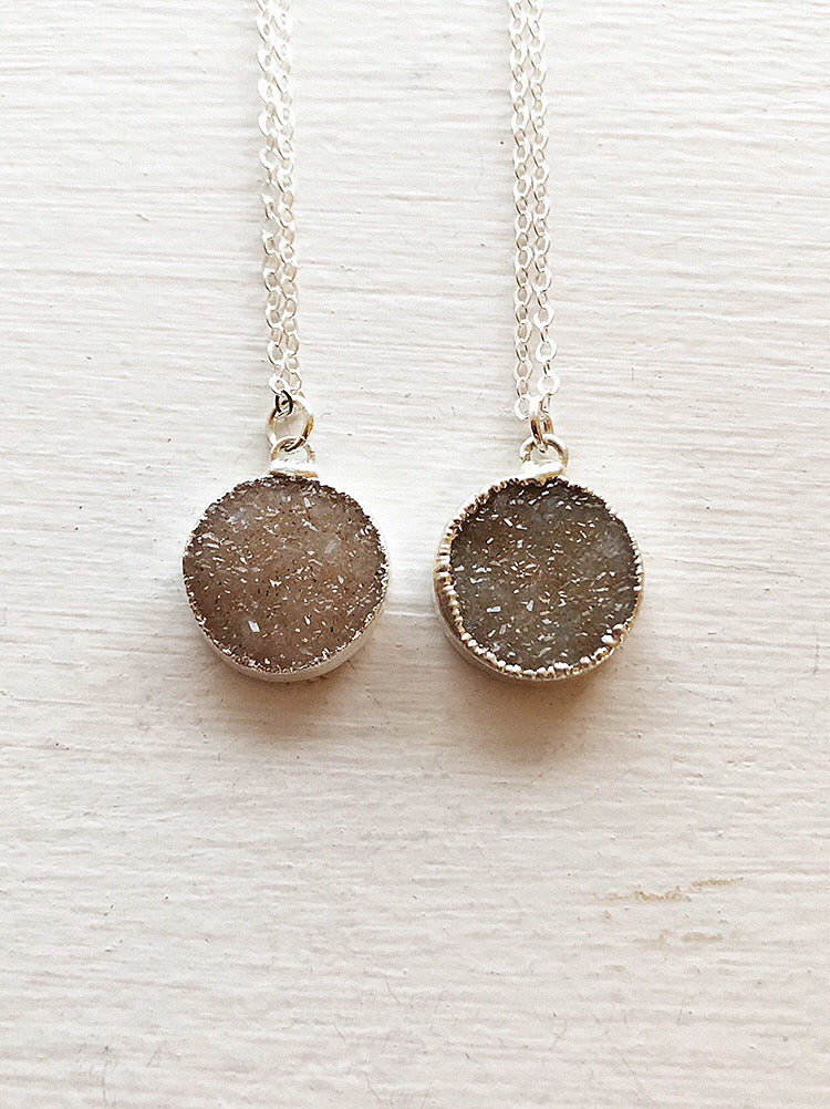 Sterling Silver Round Druzy Pendant Necklace