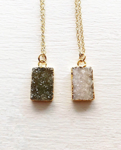 Rectangle Druzy Pendant Necklace