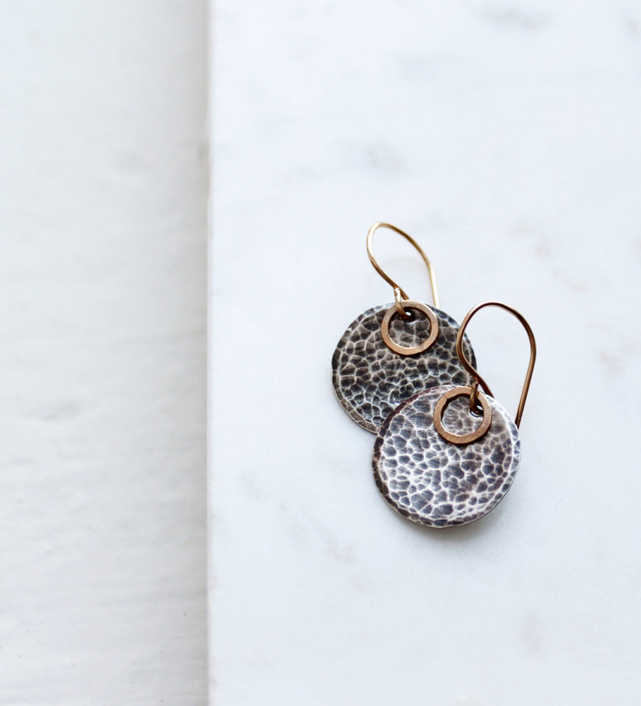 sterling silver earrings hammered earrings with gold earrings
