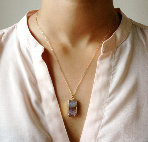 Amethyst Slice Pendant Necklace - Yoga Jewelry - Rebecca Tollefsen x Mountain Base Yoga