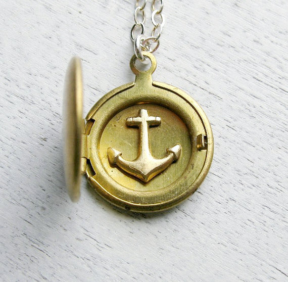 Anchor Necklace with Personalized Initial