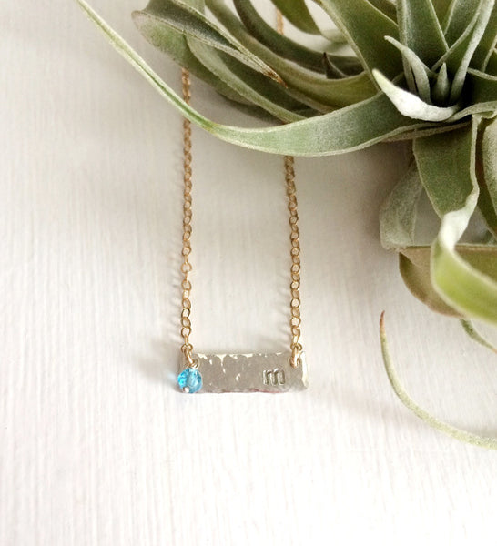 Sterling Bar Necklace with Birthstone