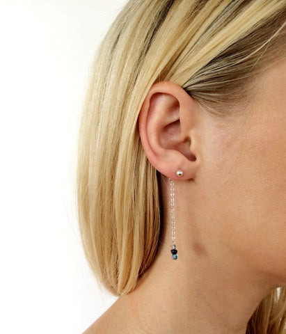 Birthstone Stud Earrings - Longer Length