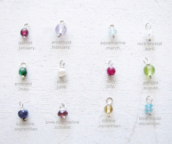 Birthstone Stud Earrings - Short Length