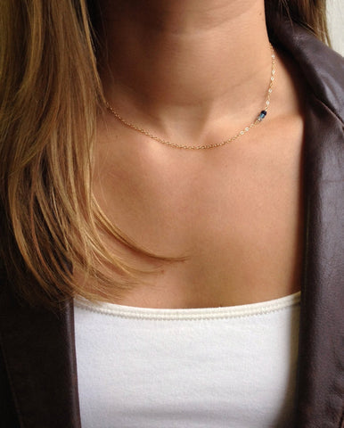Tiny Birthstone Necklace - Delicate Gold or Sterling Birthstone Necklace