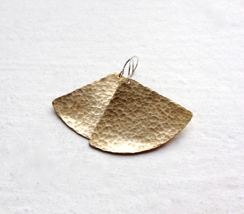 Hammered Brass Fan Earrings