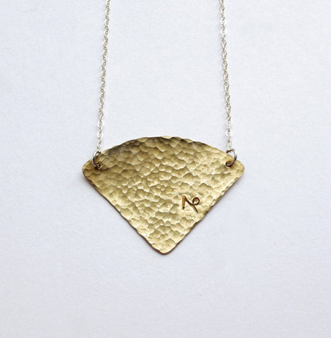 Hammered Brass Fan Necklace