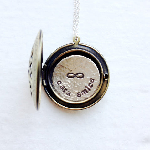 "Personalized Friendship Jewelry - Cara Amica Locket - ""Dear Friend"" Locket"