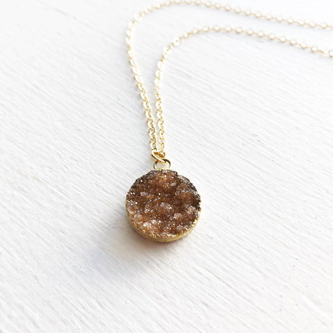 Chocolate and Gold Druzy Necklace