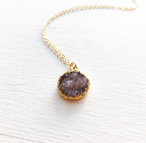 Cranberry and Gold Druzy Necklace
