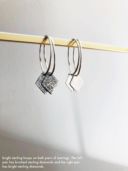 Hammered Diamond Hoops