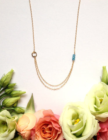 Birthstone Necklace with Double Chain Layer - Halos Collection
