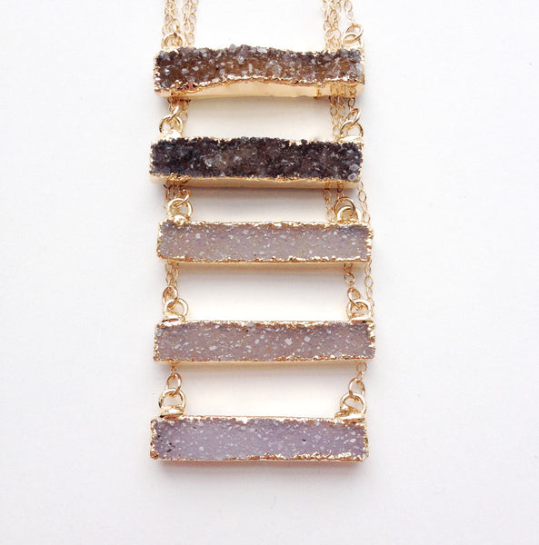 Druzy Necklace - Gold Bar Necklace
