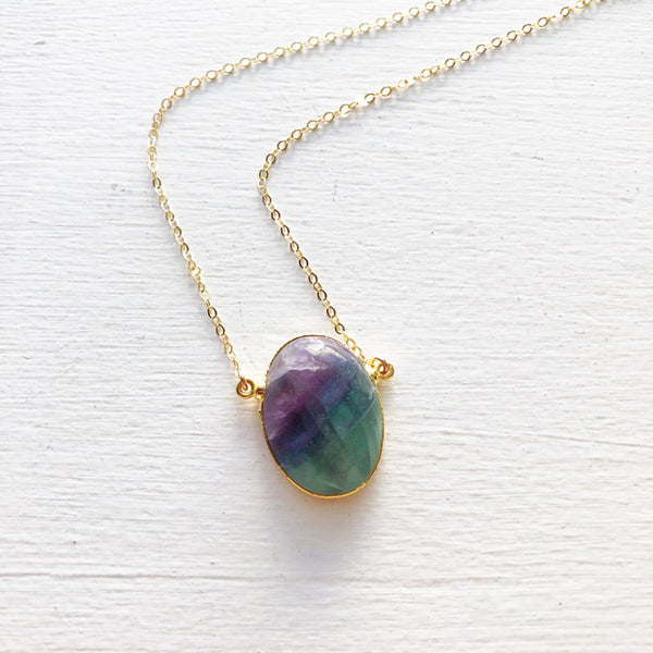 Flourite and Gold Necklace