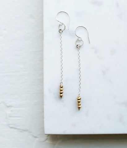 Pyrite Chain Threaded Style Earrings - Halos Collection
