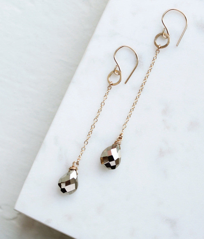 Pyrite Chain Earrings - Halos Collection