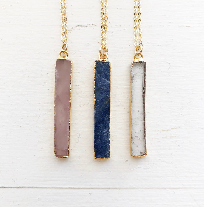 Rose Quartz or Blue Sodalite Vertical Bar Necklace