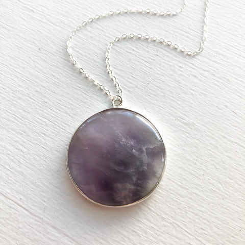 Large Round Amethyst and Sterling Silver Necklace