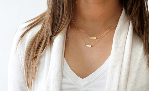 gold or silver initial bar necklace