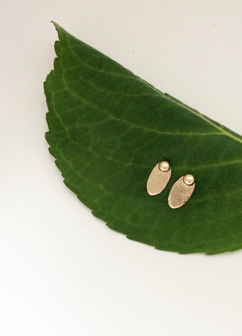 Tiny Hammered Oval Jacket Earrings
