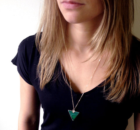 malachite pesonalized necklace