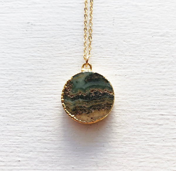 Green Jasper and Gold Necklace
