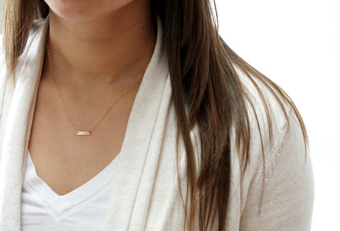 Delicate Gold or Sterling Layered Necklace Set with Personalized Bar Necklace