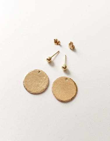 Hammered Circle Jacket Earrings