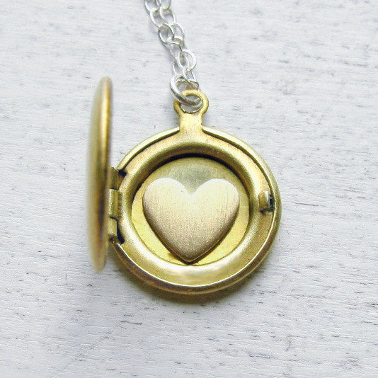 Personalized Locket with Tiny Heart Inside
