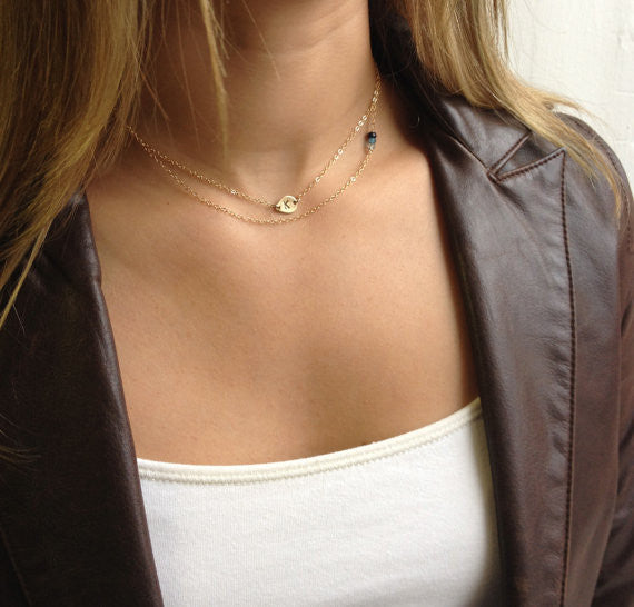 Delicate Initial Necklace With Teardrop Pendant