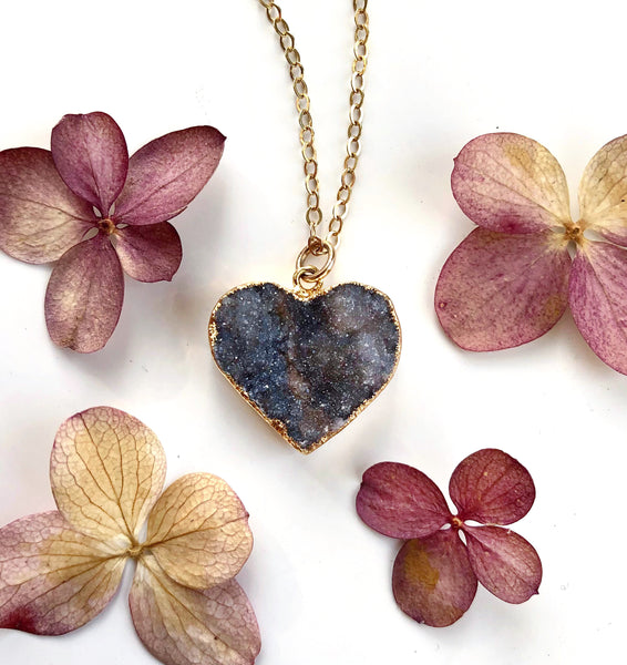 Heart Druzy Necklace