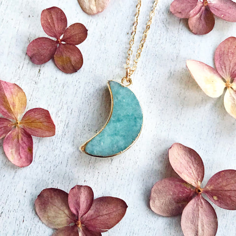Amazonite Moon Necklace