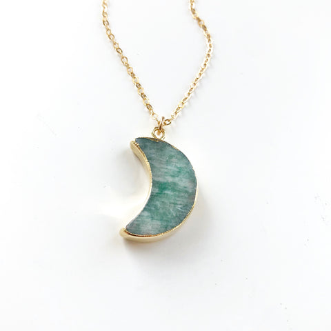Green Aventurine Moon Necklace