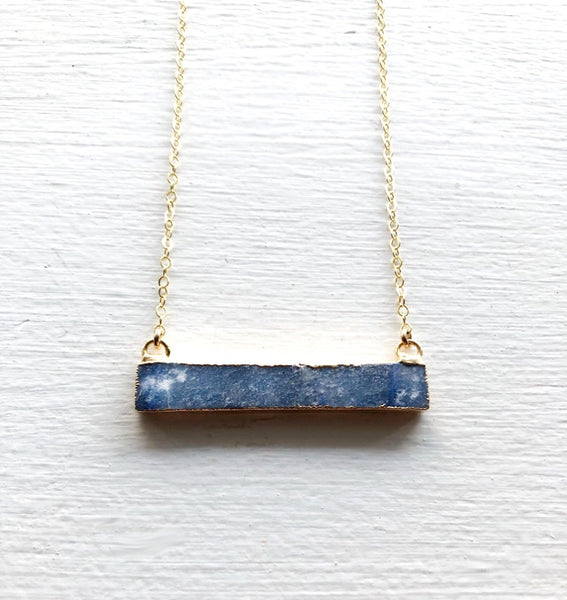 Rose Quartz or Blue Sodalite Bar Necklace