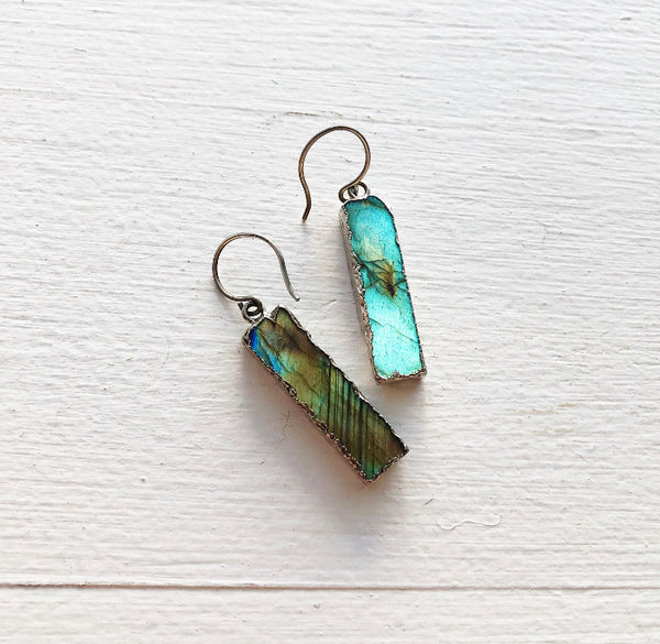 Labradorite and Brushed Sterling Silver Earrings