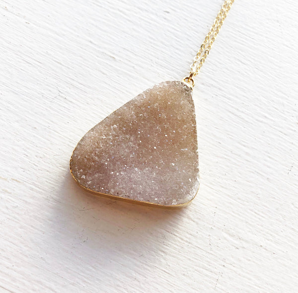Large Champagne Druzy Necklace