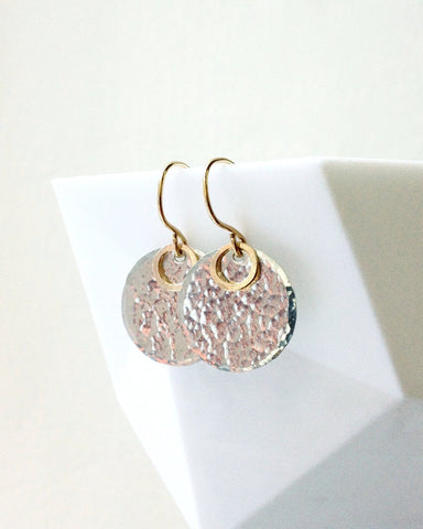mixed metal earrings hammered sterling silver