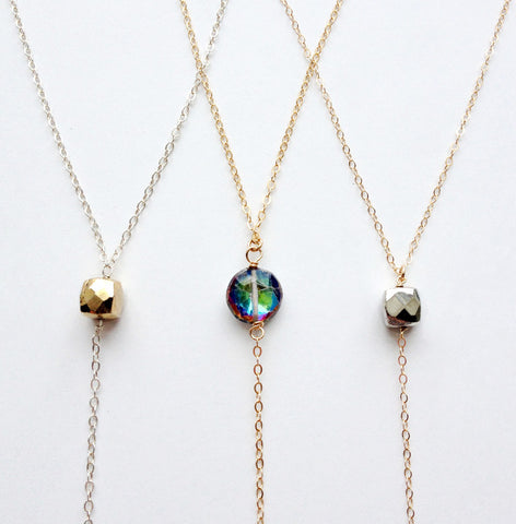 Gold Or Sterling Y Necklace with Gemstone