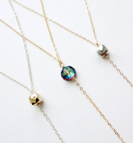 Gemstone Lariat Necklace - Sterling Silver or Gold Lariat Necklace