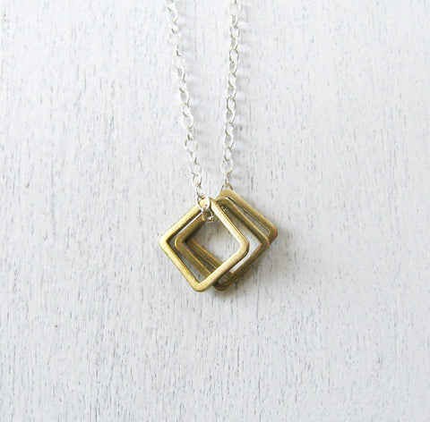 Three Squares Layering Necklace