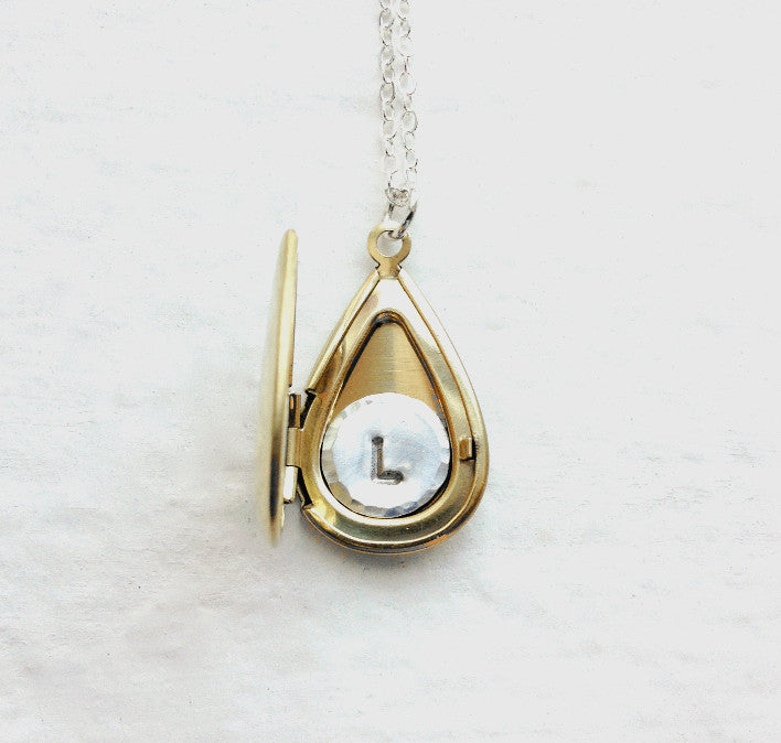 Personalized Locket With Sterling Initial Inside