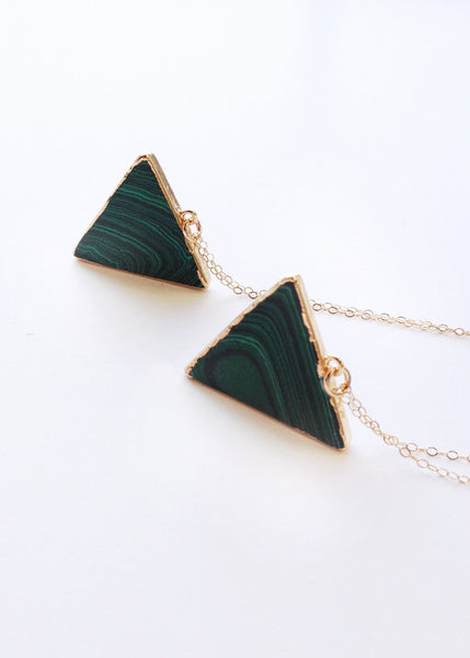 gold triangle necklace geometric jewelry