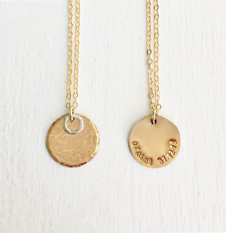 Met & Married Halo Hidden Message Date Necklace