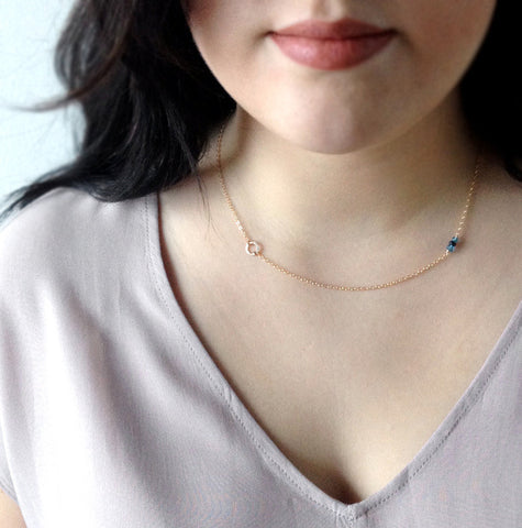 Simpe Birthstone Necklace Gold Chain Necklace Gift for New Mother