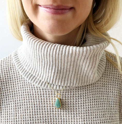 Green Aventurine and 14k Goldfill Necklace