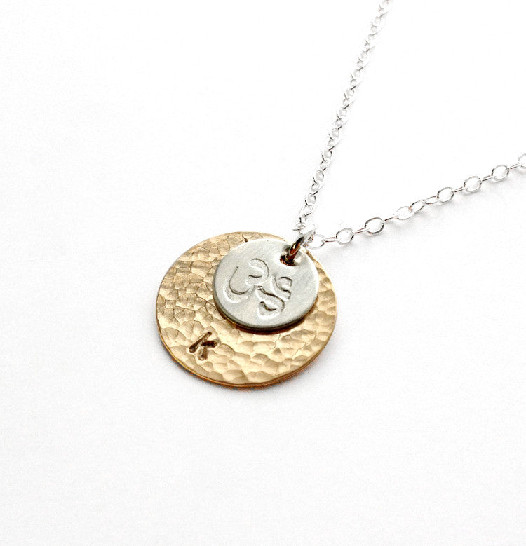 personalized om necklace in sterling silver or gold jewelry